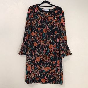 Black boho print shift dress, size XL